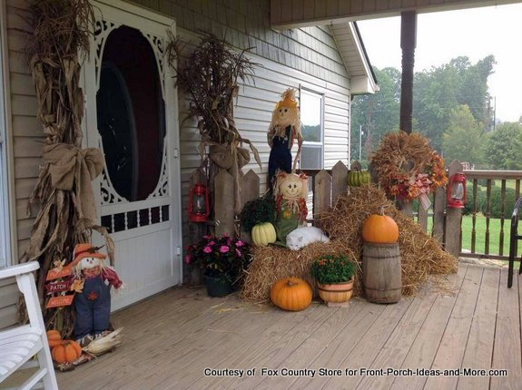 fun autumn decorated front porch