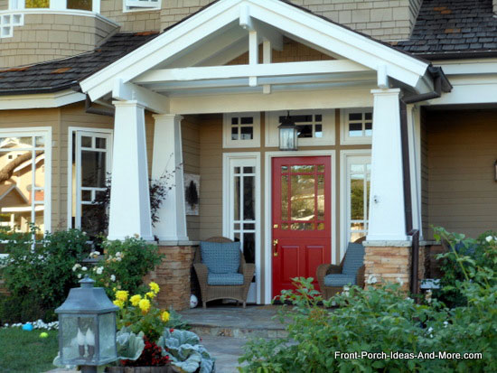 appealing front porch with craftsman style porch columns in Newport Beach California