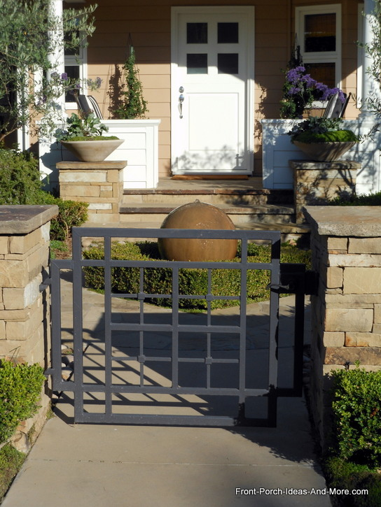 rectangular designed front porch gate on home in Newport Beach California