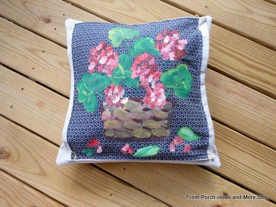 geraniums pillow topper