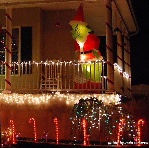Grinch Stealing Christmas on the front porch