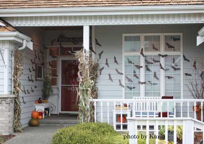 Halloween decorated porch with bats