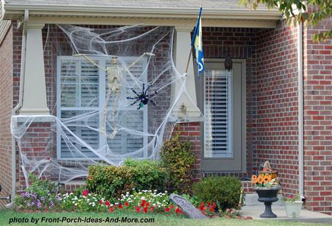 Halloween spiderweb on front porch