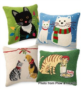 Cat hand-pulled pillows from Plow and Hearth