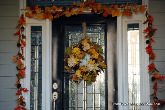 colorful fall wreath and garland to frame this front door