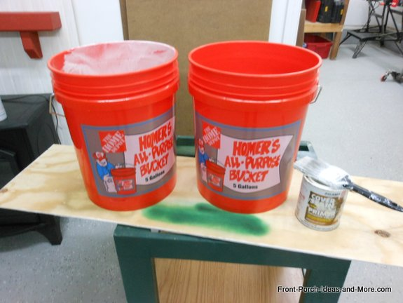 inexpensive buckets from Home Depot