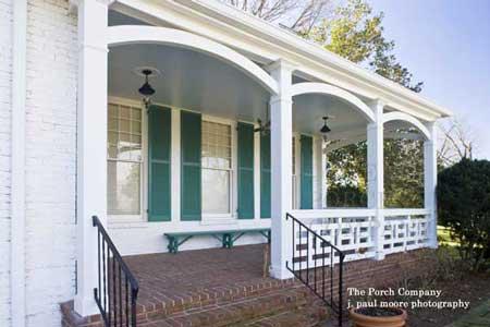 white square porch railings on front porch