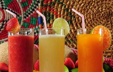 delicious fruit drinks on the porch