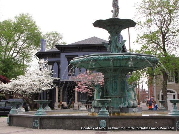 Eleftherios Karkadoulias fountain in downtown Madison Indiana