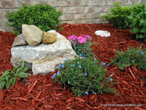 rocks stacked on top of each other in landscaping