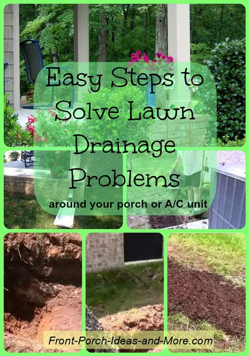 collage of pictures showing drain solution around front porch