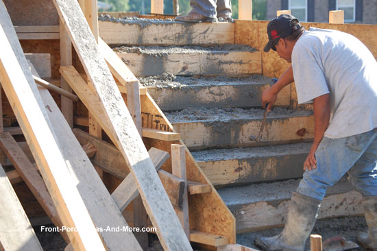 leveling concrete on porch steps