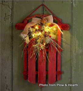 Lighted holiday sled decoration from Plow and Hearth