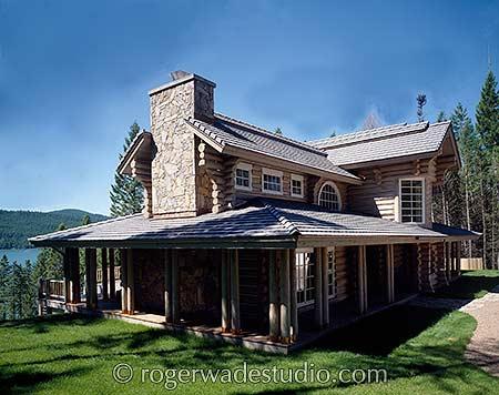 Farmhouse Country Log Home