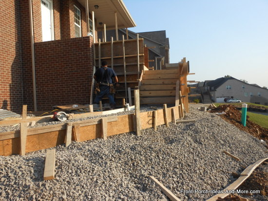 lower section of concrete steps formed