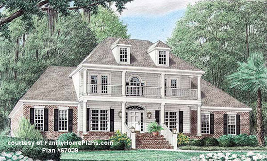 Front porch on luxury home from Family Home Plans #67309