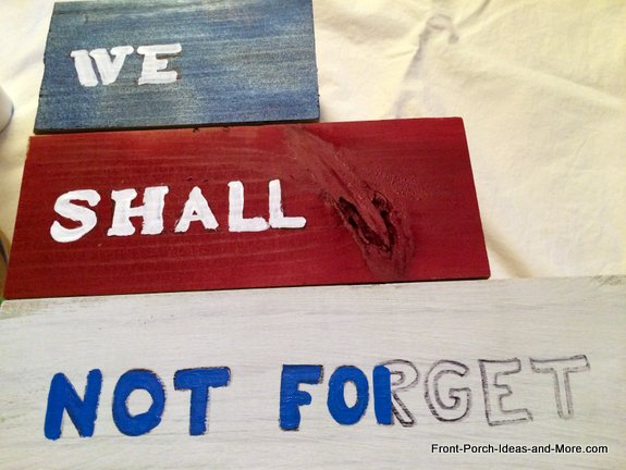 Painting the words onto our Memorial Day Tribute Project