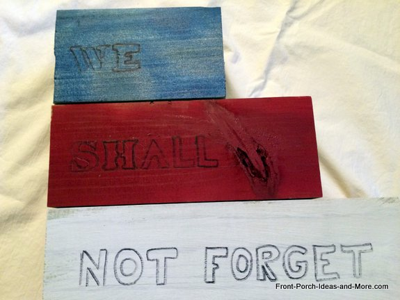The words are outlined on our Memorial Day Tribute Project