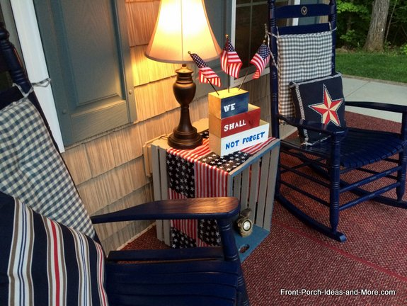 Our porch decorated for Memorial Day