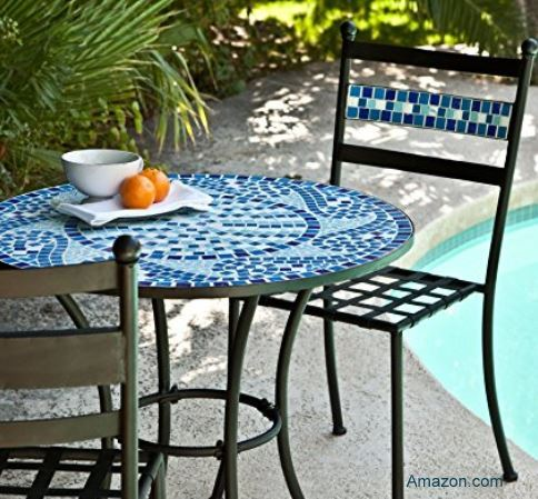 blue mosaic bistro table on patio