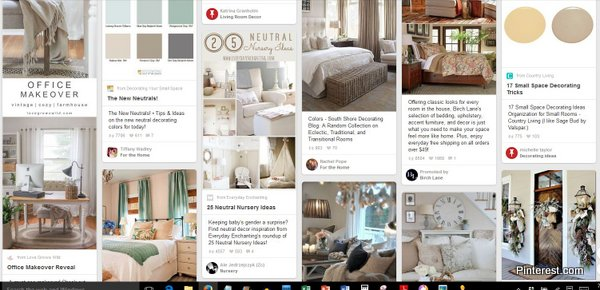 Neutral colors seem prevalent as shown on these pinterest images