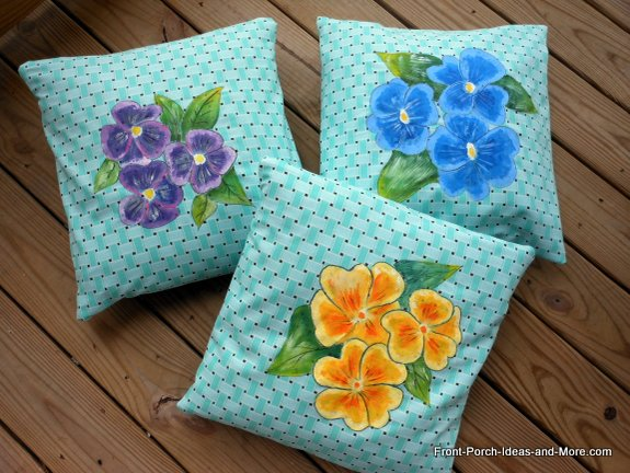 Our spring decor - pansy pillow toppers
