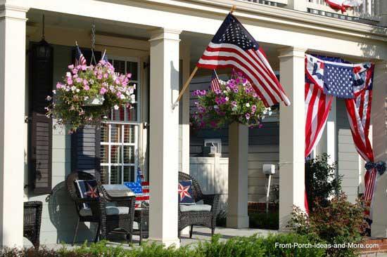 decorated patriotic hanging baskets