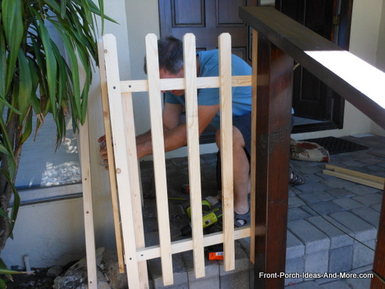 attaching pickets to both top and bottom rails