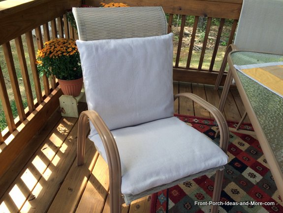 Chair with freshly re-covered cushion made from painters drop cloth - a canvas like material