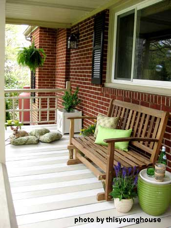 Close-up of John and Sherry's porch makeover