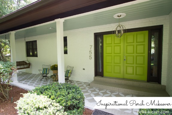 The beautiful front porch at Dana and Brooks home