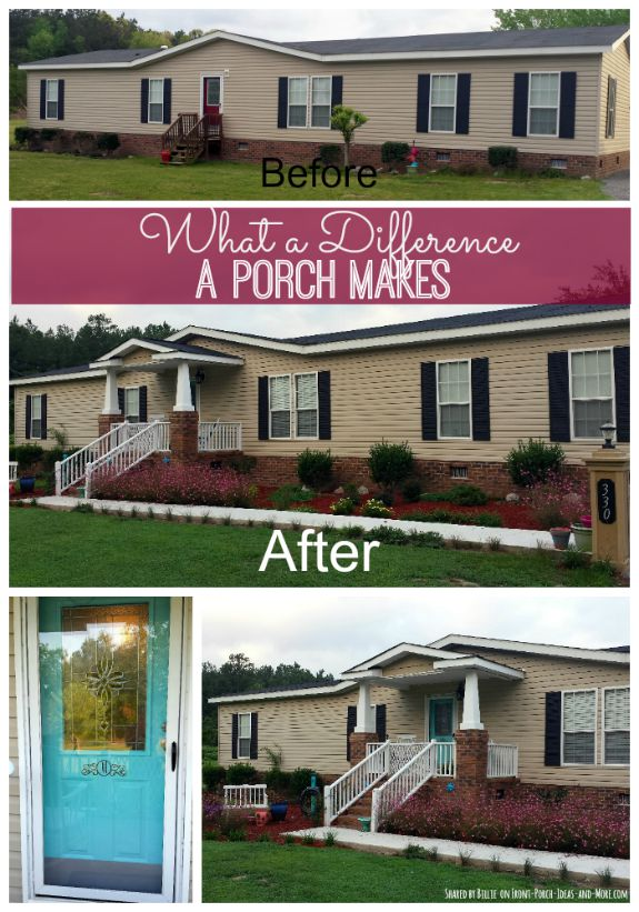 Before and after of Billie's home - without a porch and the wonderful after that shows her home with a porch.