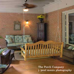 custom screened porch with swing