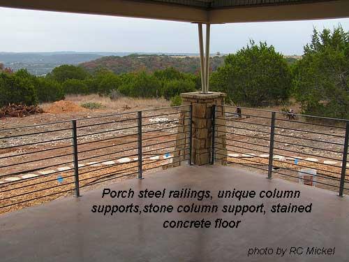 steel railings, unique columns