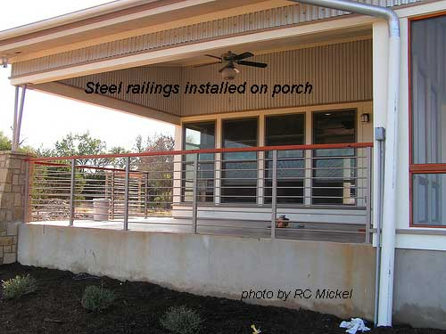 steel railings installed on porch