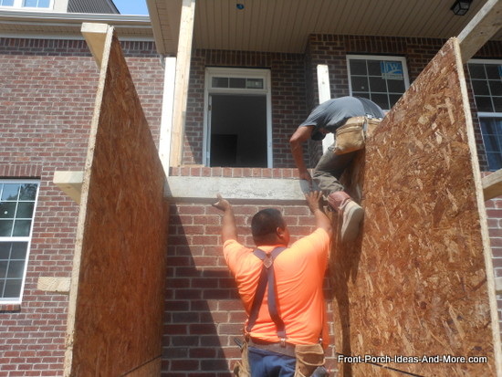 installing risers for concrete steps