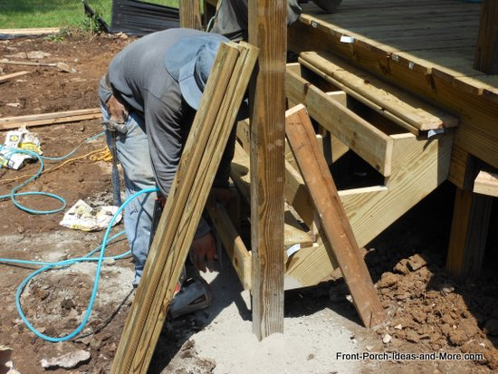 supporting posts are set in concrete and braced