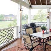 screen porch with herringbone balustrade design