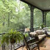 wrought iron balustrade on screen porch