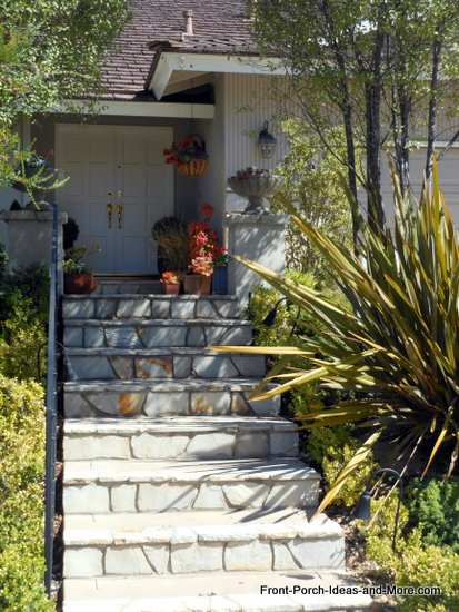 stone front porch steps in Rancho Palos Verdes