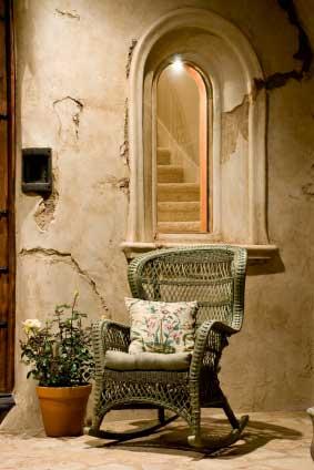green rustic wicker porch rocking chair