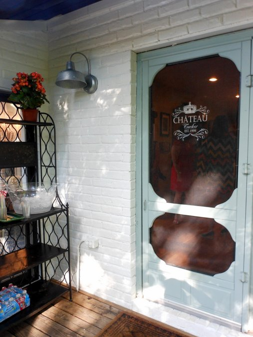 The stenciled screen door at Dana's home