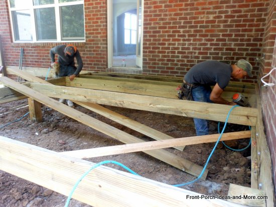 joists being secured to rim joists