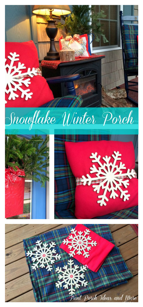 Festive and cheery snowflake fleece winter porch