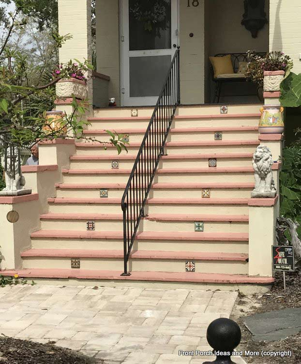 St. Augustine porch steps with beautiful tiles