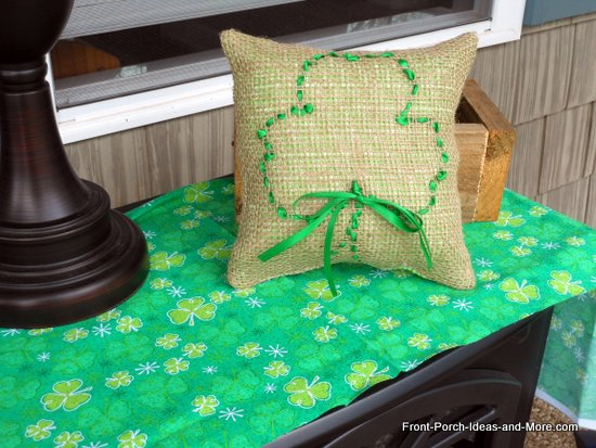 cute burlap shamrock pillow for St. Patrick's Day decorating
