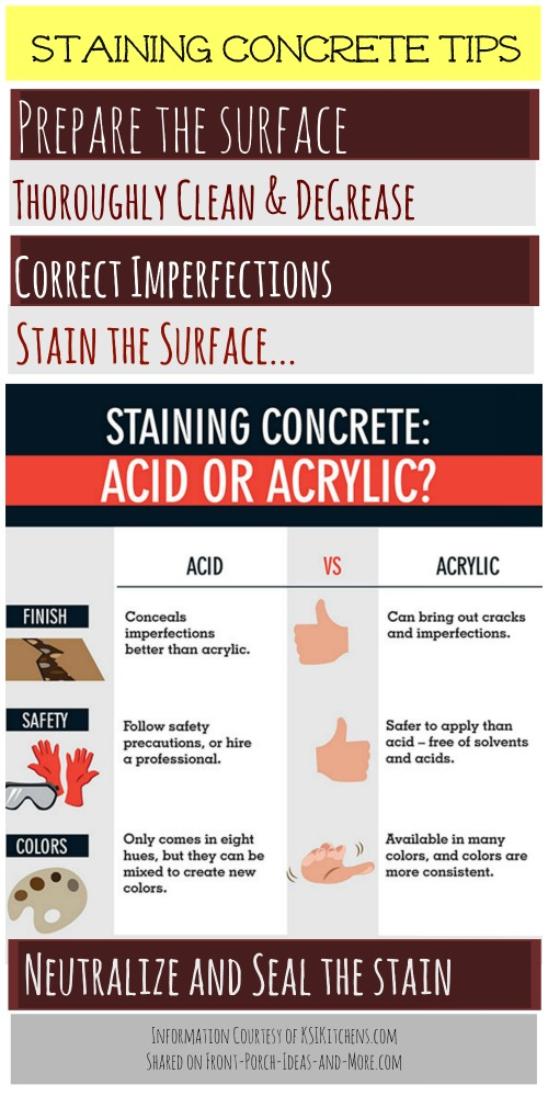 Staining concrete tips - information courtesy of KSIKitchens.com and shared on Front-Porch-Ideas-and-More.com