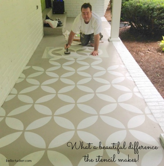 Dana's husband is stenciling the porch floor