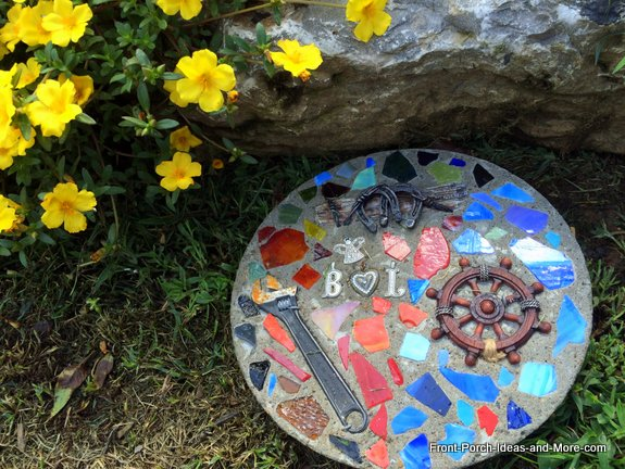 The finished stepping stone is in our friend's garden.