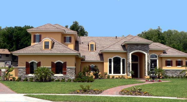 combination stone and stucco design for southwestern home plan